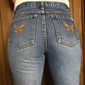 Vintage•Zana Di•butterfly embroidered wide flare